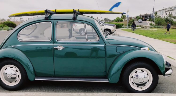 Car carrying surfboard